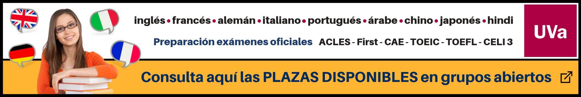 Plazas disponibles grupos 2018-2018 idiomas UVa banner