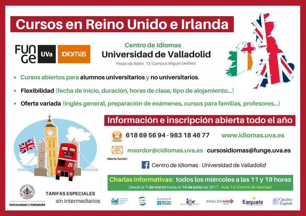 Cartel cursos Reino Unido e Irlanda