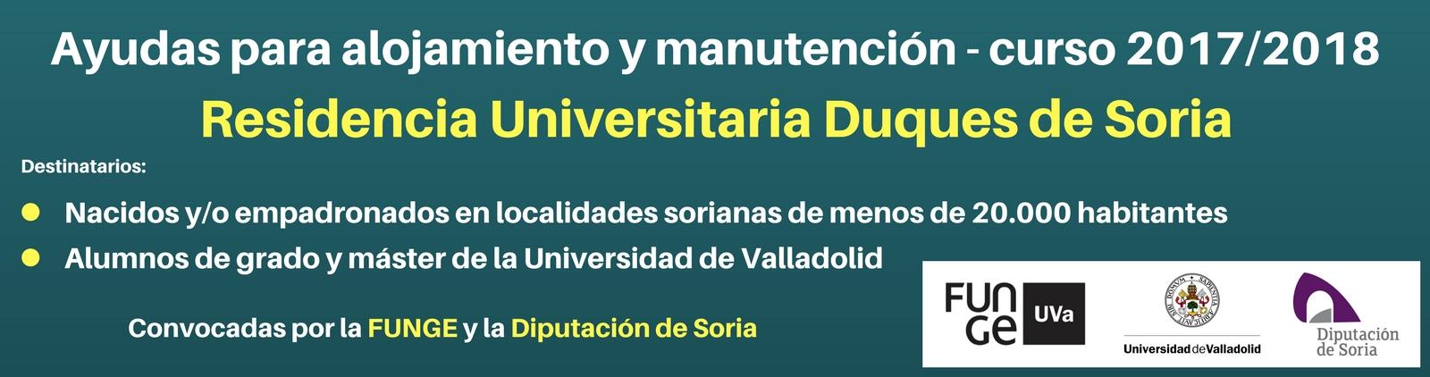 Ayudas para alojamiento y manutención - Residencia Duques de Soria 2017-2018