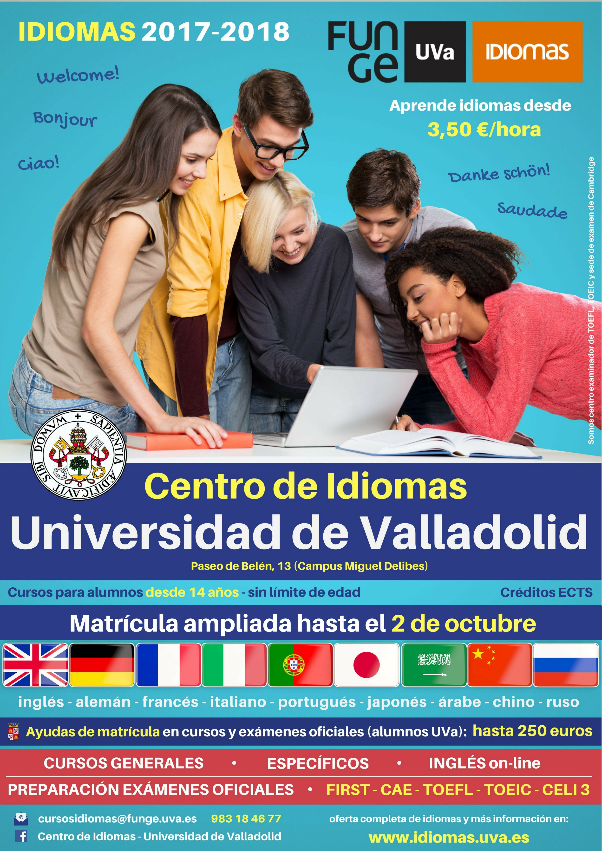 cartel idiomas 17 18 plazo ampliado