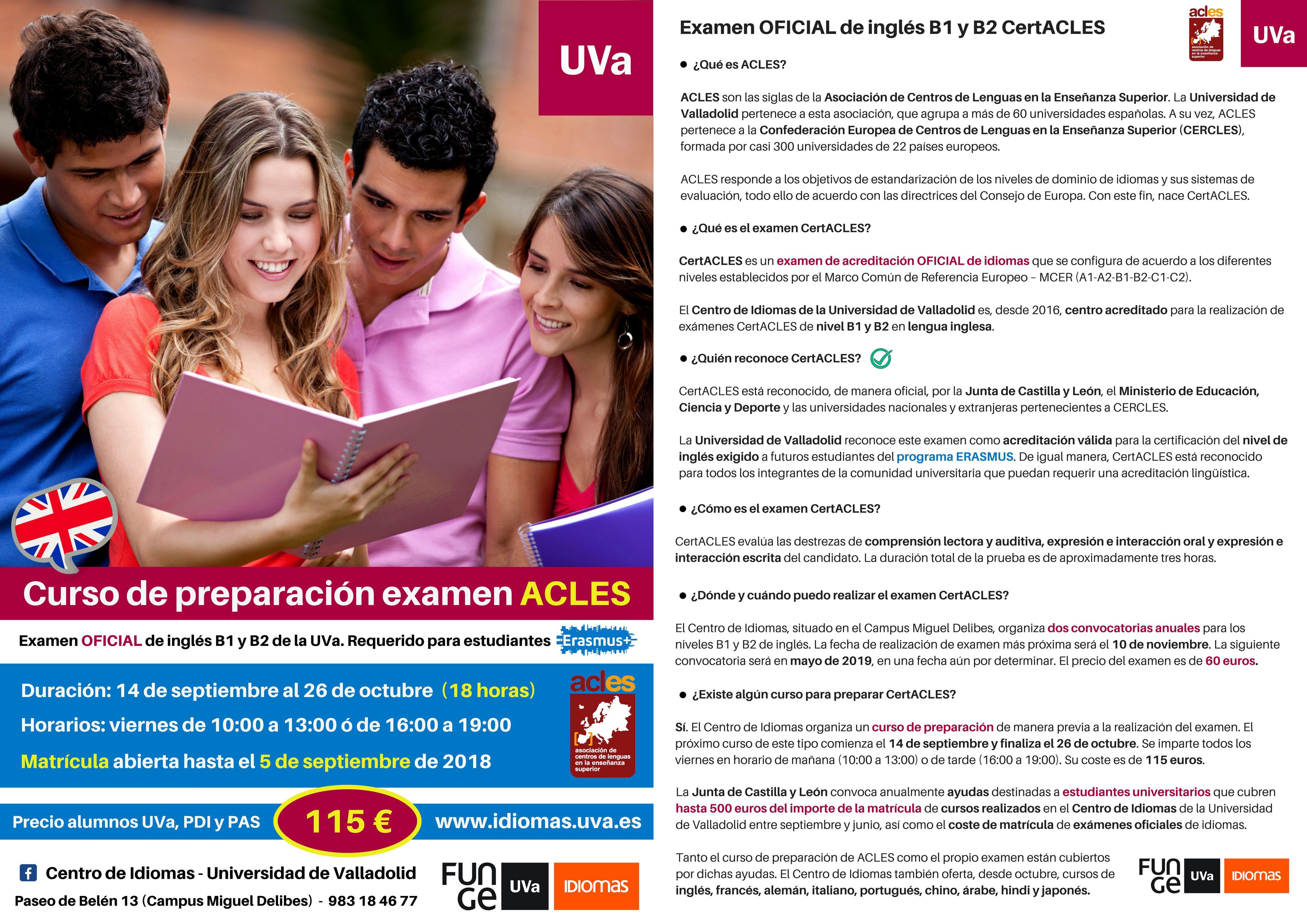 Preparación CertACLES 2018 e información ACLES - Universidad de Valladolid
