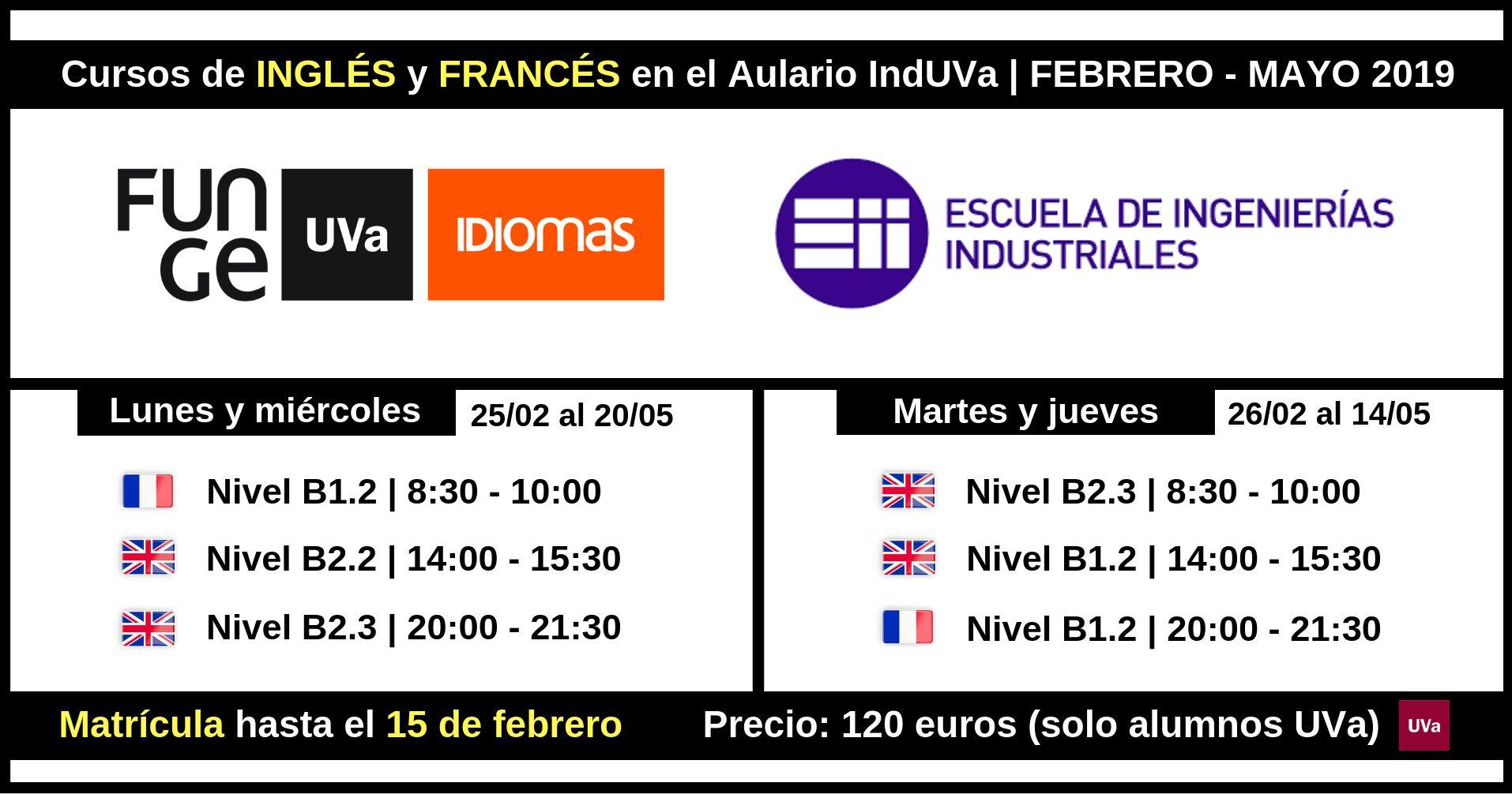 Cursos inglés y francés IndUVa 2019 - febrero - mayo 2019 - Universidad de Valladolid idiomas