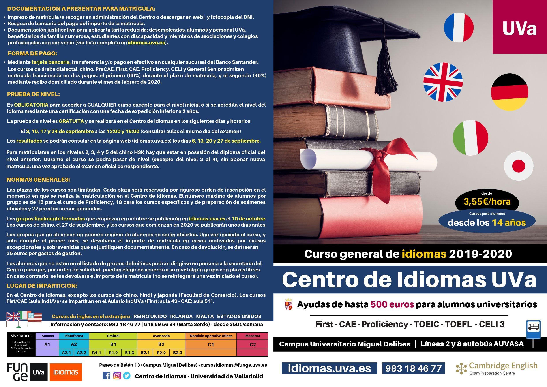 Folleto curso general 2019-2020 Centro de Idiomas Universidad de Valladolid - exterior