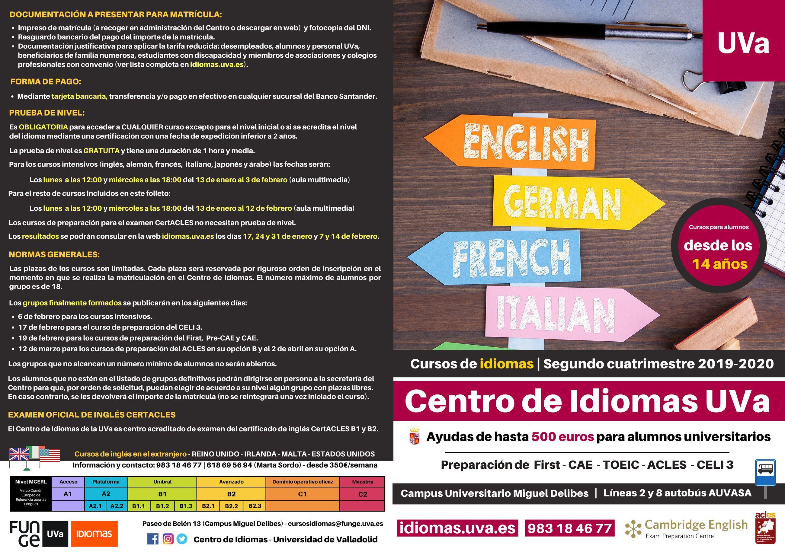 Cursos segundo cuatrimestre 2019-2020 - Centro de Idiomas Universidad de Valladolid - inglés - francés - alemán - Cambridge