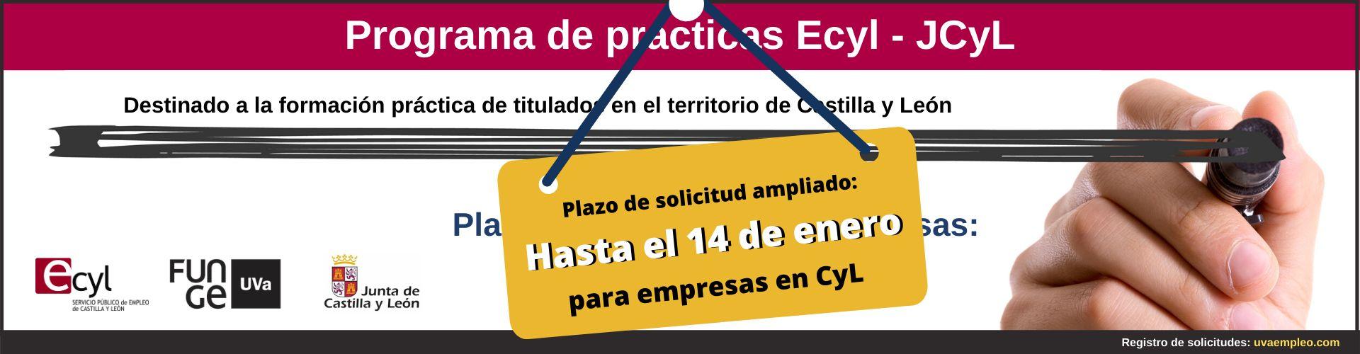 Programa de prácticas para titulados Ecyl - JCyL 2020 - Fundación General de la Universidad de Valladolid - plazo de presentación ampliado