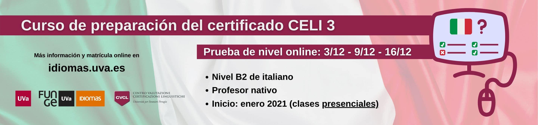 Banner curso preparación examen CELI 3 italiano - Centro de Idiomas Universidad de Valladolid