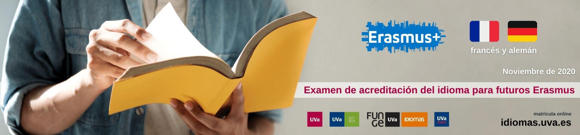 Banner - examen acreditación idioma para futuros Erasmus noviembre 2020 - Universidad de Valladolid