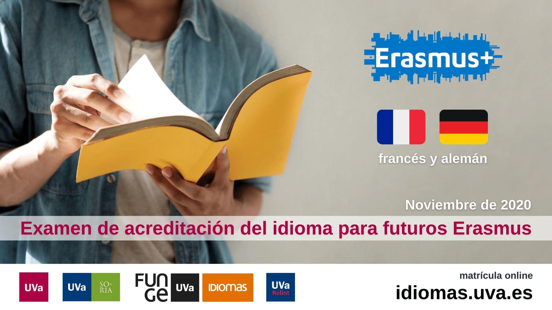 Imagen para el examen de acreditación futuros Erasmus Universidad de Valladolid - francés y alemán