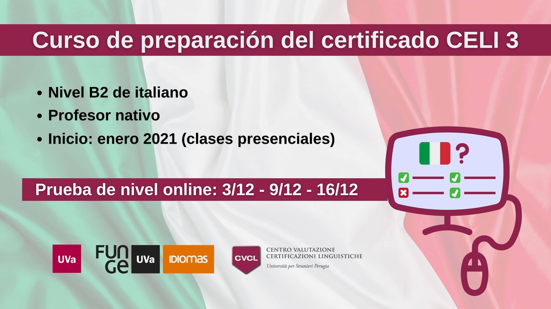 Imagen de curso preparación examen CELI 3 - Centro de Idiomas Universidad de Valladolid